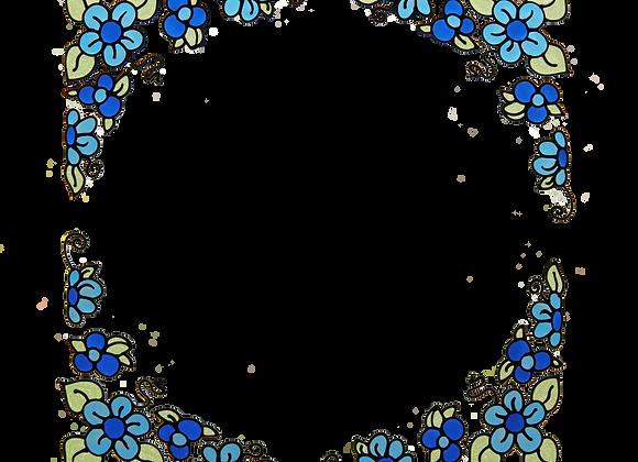 פינות פרחוניות כחול