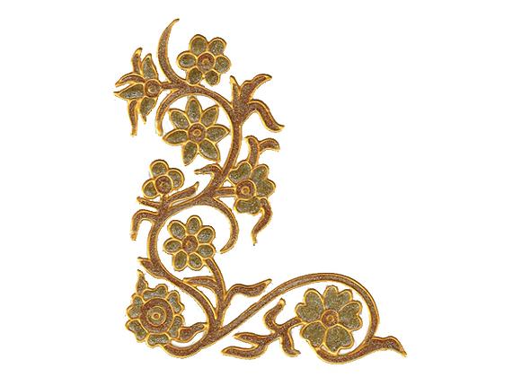 פינה פרחונית זהב נוצץ