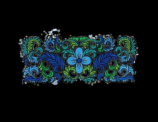 עיטור פרחים כחול