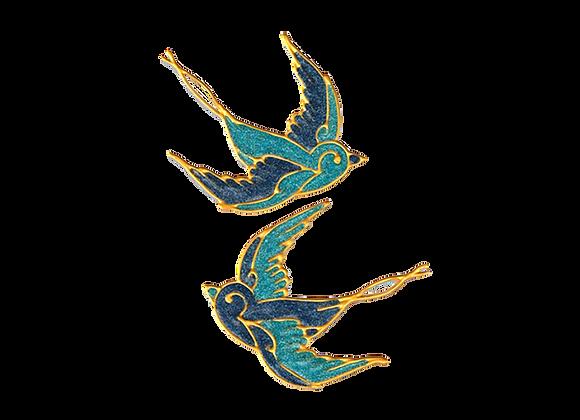 ציפורים כחולות נוצצות
