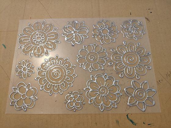 סט 12 פרחים כסף