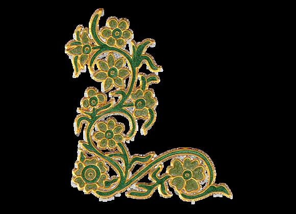 פינה פרחונית ירוק נוצץ