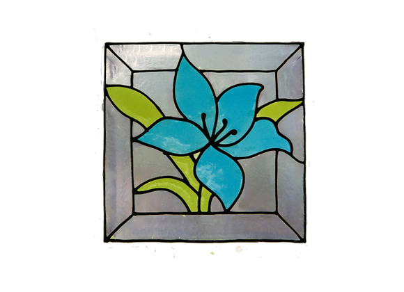 ריבוע פרח כחול