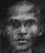 Drawing from an identity photograph of a man who died in Tuol Sleng.
