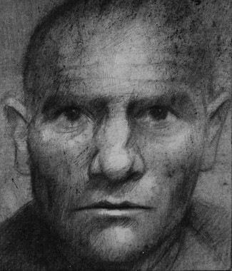 Drawing from an identity photograph of Ilyas who died in Lubyanka.
