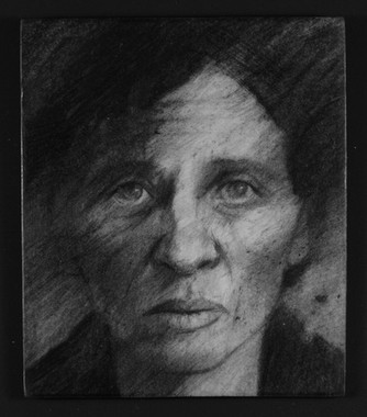 Drawing from an identity photograph of Maria who died in Lubyanka.