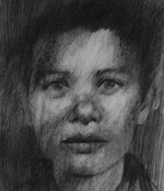 Drawing from an identity photograph of Krystyana who died in Auschwitz.