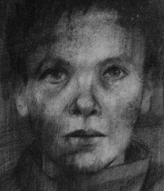Drawing from an identity photograph of Katarzyna who died in Auschwitz.