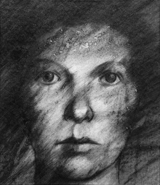 Drawing from an identity photograph of Yelena who died in Lubyanka.
