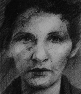Drawing from an identity photograph of Emilya who died in Lubyanka.