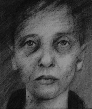 Drawing from an identity photograph of Maria who died in Auschwitz.