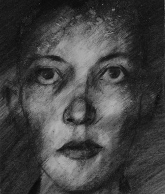 Drawing from an identity photograph of Moses who died in Auschwitz.