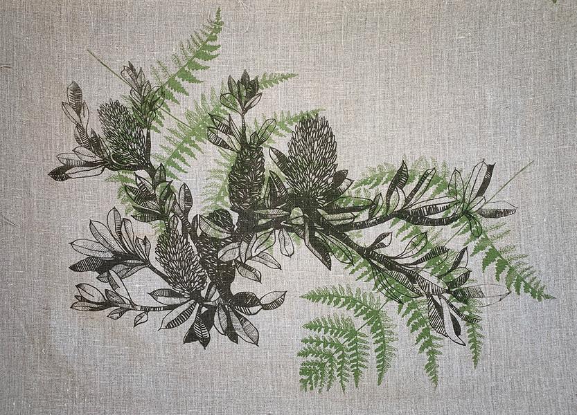 BanksiaBranch+fern-onFlax.jpg