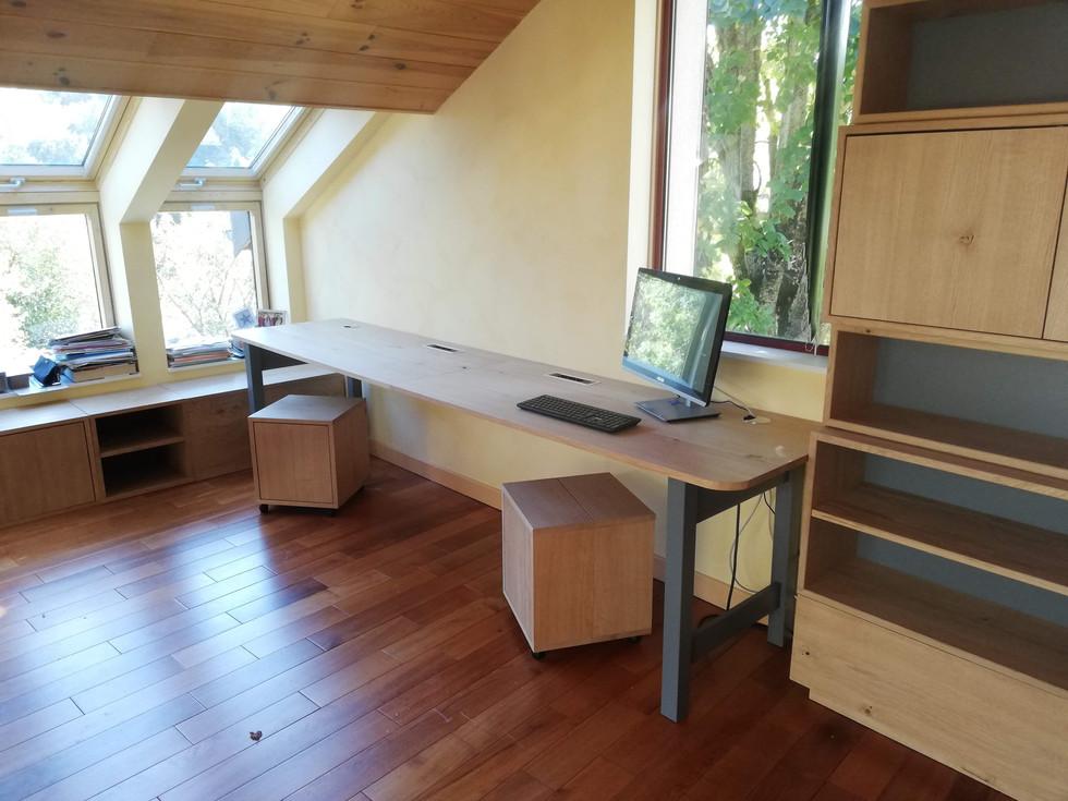 Ensemble bibliothèque et bureau