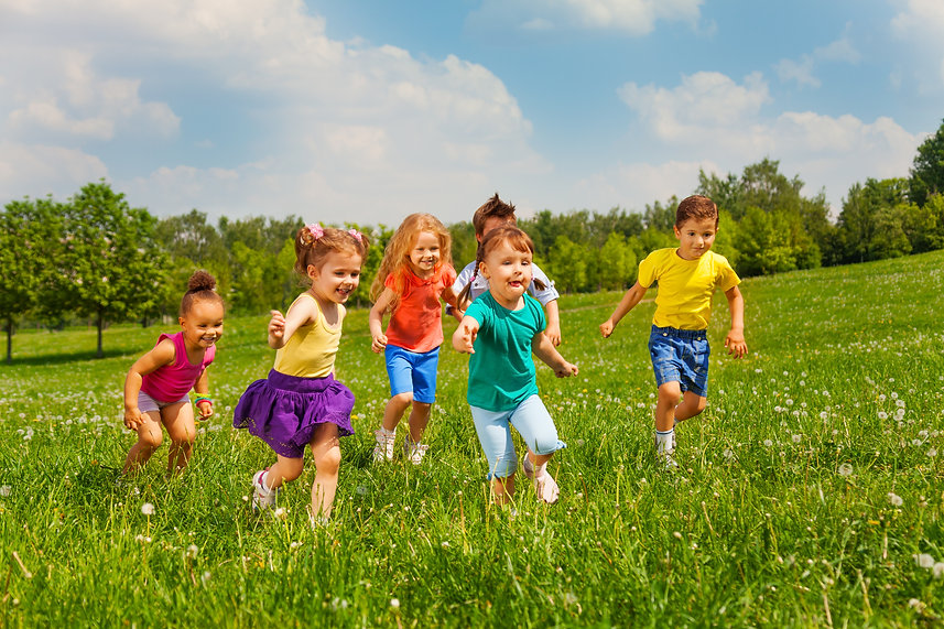 Playing kids in green field during summe