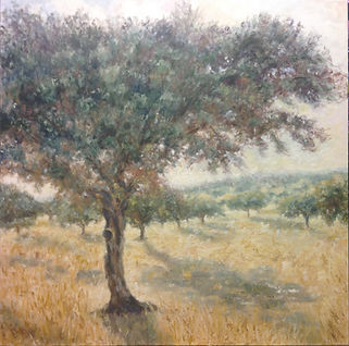dehesa agostada ,oleo sobre lienzo, 90x9