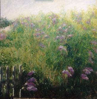 jardin con lilas, oleo sobre lienzo, 90x