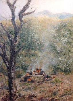 Fogata en la Mora,oleo sobre lienzo, 90x