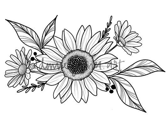 Sunflower SEMI-PERMANENT Tattoo