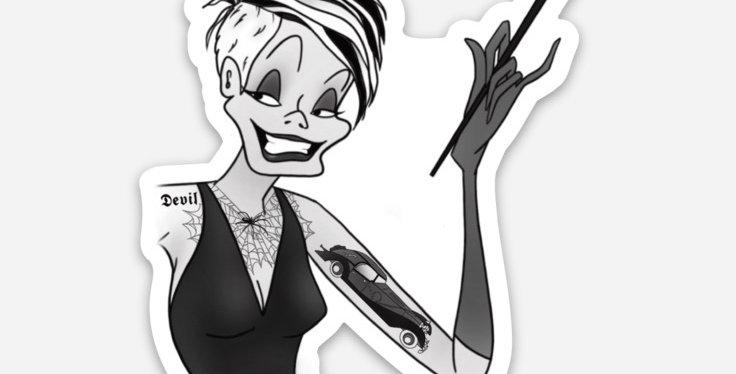 Tatted Cruella Sticker