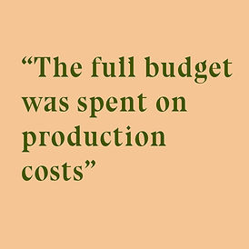 """Dark Green text on square peach background reads """"The full budget was spent on production costs"""""""