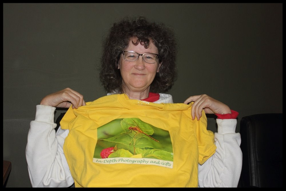 Marian with her business t-shirt - In-Depth Photography and Gifts
