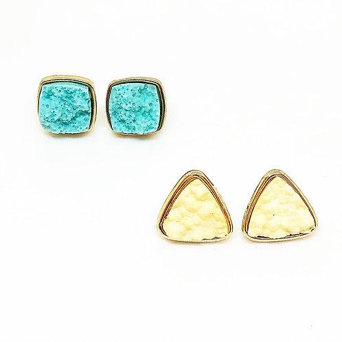 Turquoise & Beige Druzy Earrings