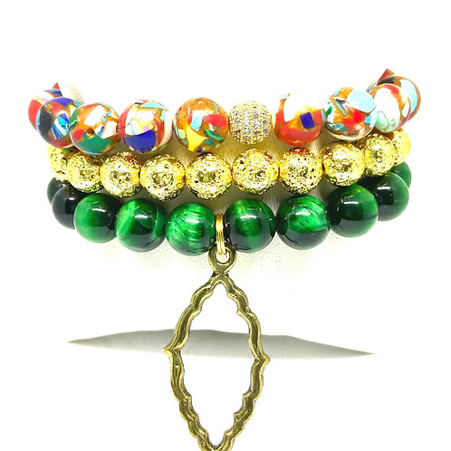 10mm Multicolored Hues, Green & Gold w/Accents