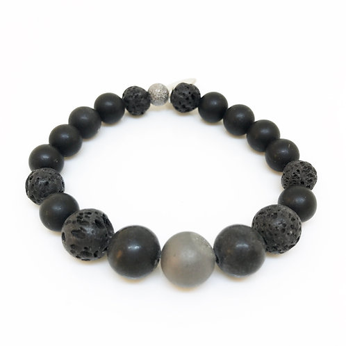 8/10mm Boy's Lava Rock, Druzy and Onyx Bracelet