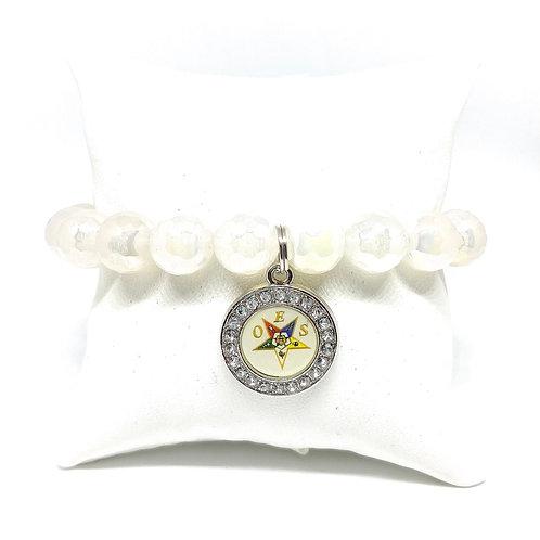 OES Eastern Star Agate & Silver Hematite Bracelets