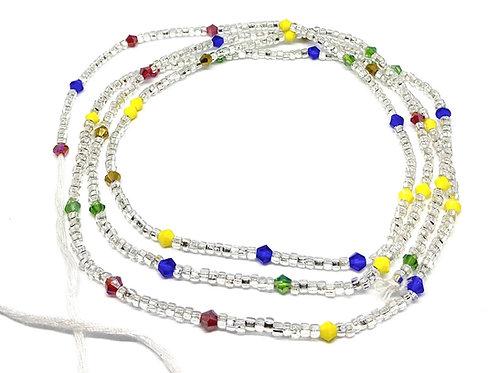 42in Multicolored & Silver w/Tie Closure