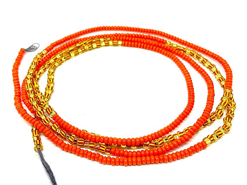 40in Bright Orange & Gold w/Tie Closure