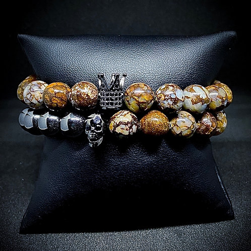Men's 10mm Agate & Hematite w/Accents