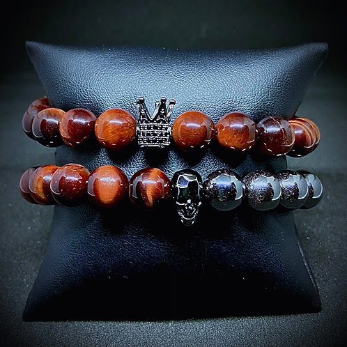 Men's 10mm Red Tigers Eye & Hematite w/Accents