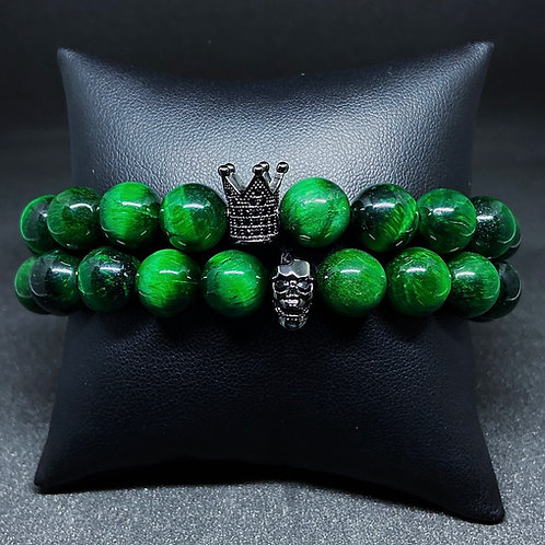 Men's 10mm Green Tigers Eye w/Accents