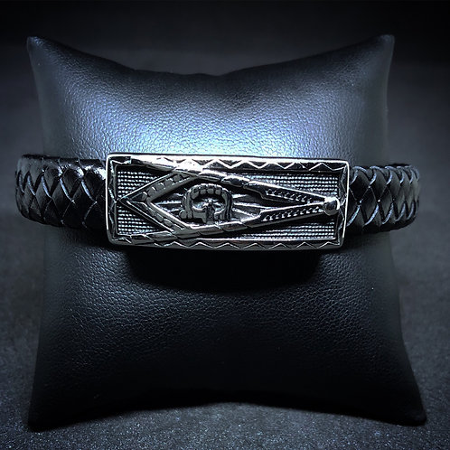 Men's Black Leather Masonic Bracelet