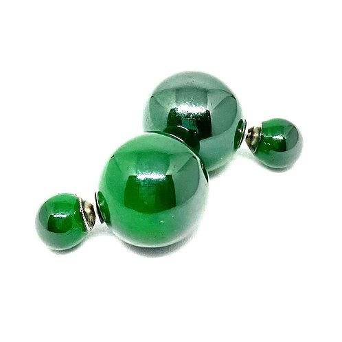 Green Double Sided Ball Earrings
