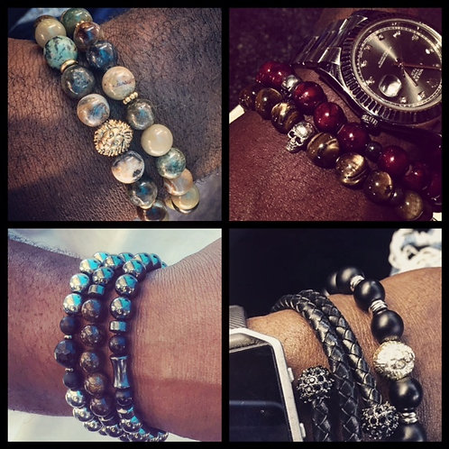 Men's Custom Stack in Natural Stones or Leather