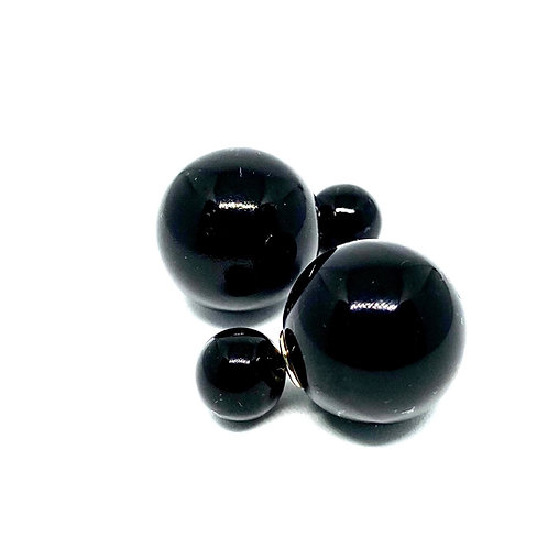 Black Doublesided Ball Earrings