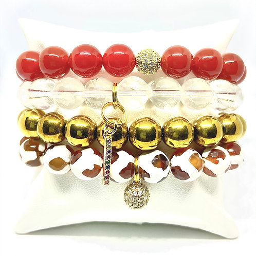 10mm Hues of Red, Gold & Creme w/Accents