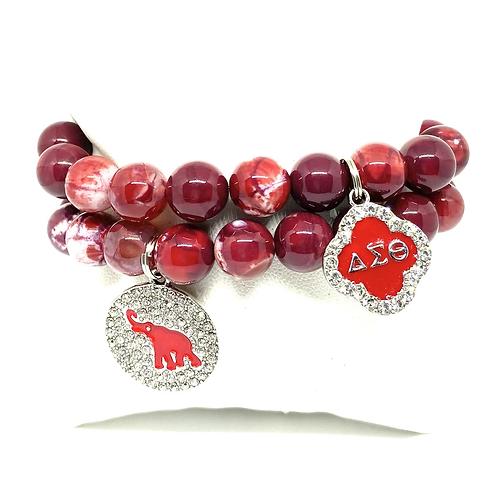 10mm Delta Sorority Agate Bracelets