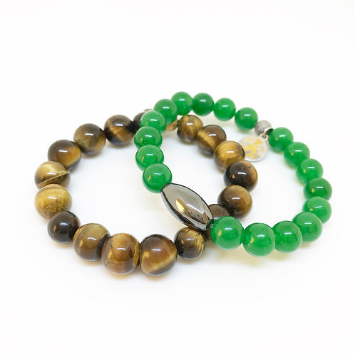 8/10mm Boy'sTiger Eye & Jade Bracelets