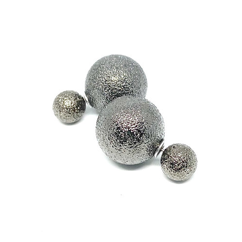Frosted Gunmetal Doublesided Ball Earrings