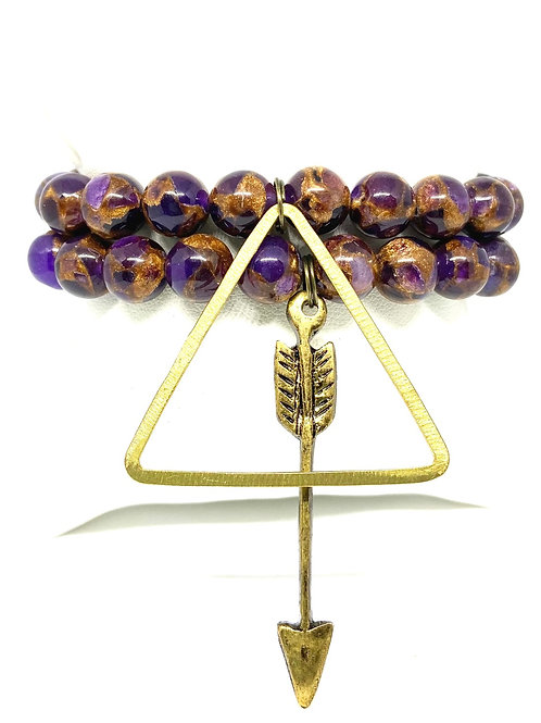 10mm Hues of Gold & Purple w/Accents