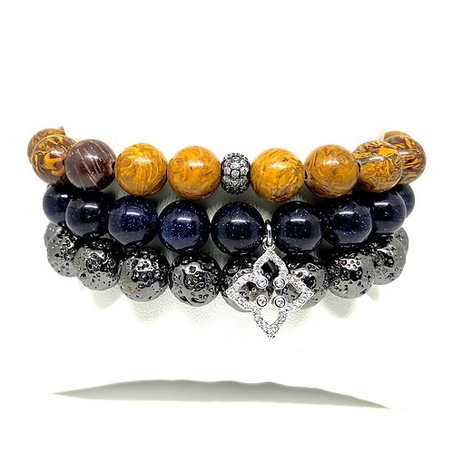 10mm Hues of Navy, Gunmetal & Brown w/Accents