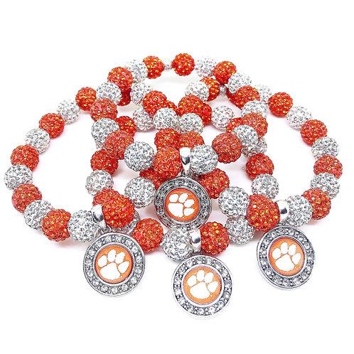 10mm Orange & White Pave Crystal Clemson Tigers  Bracelets