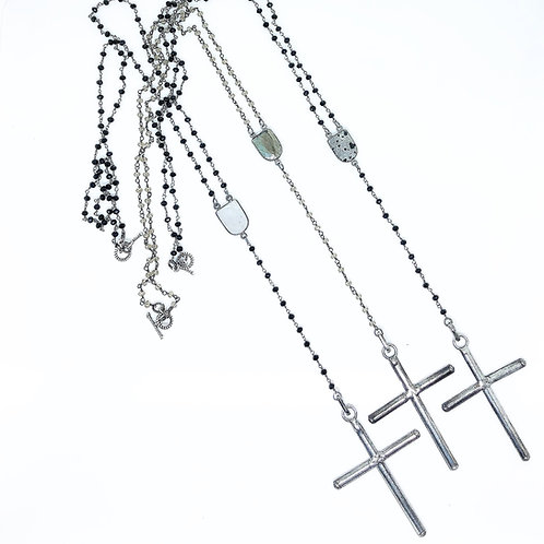 24in Silver Rosary Necklace