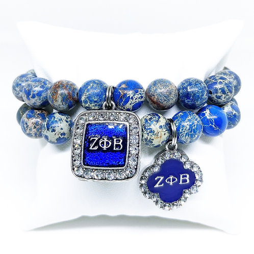 10mm Zeta Phi Beta Sorority Jasper Bracelets