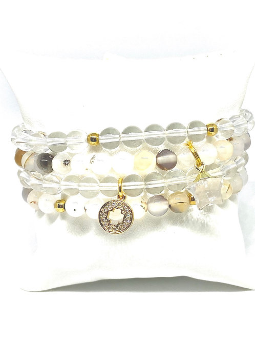 6mm Hues of Clear, Peach & Mixed Stones w/Accents