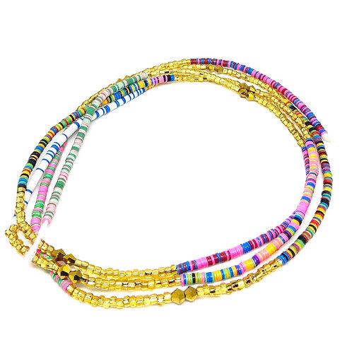 45in  Multicolored & Gold w/Tie Closure